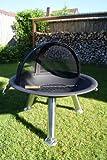 Feuerschale Edelstahl 76 cm mit aufschiebbarer Funkenhaube + 60 cm Edelstahl Grillrost + viele Extras!!!