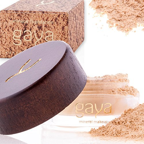 Gaya Cosmetics Foundation Make Up Puder - Vegan Mineral Professionelle Natürliche Full Coverage Foundation Makeup Powder (Schattierung MF1)