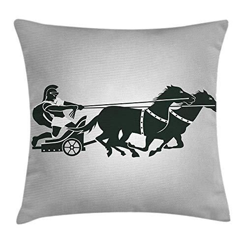 tyui7 Toga Party Wurfkissen Kissenbezug, Mythologischer Chariot Gladiator mit Pferd Traditionelle griechische Kultur Bild, Dekor Akzent Kissenbezug, 45 x 45 cm, Dimgrey Black
