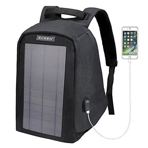 Solar Rucksack Diebstahlschutz Travel Laptop Rucksäcke eingebaute 10Watt Solarpanel mit USB-Ladeanschluss Apple iPhone, Tablets, USB-Geräte etc. für Business Schule und Reisen Outdoor, Black 10 Watts