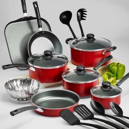 """18-Piece Tramontina PrimaWare Nonstick Cookware Set, Red by """"Tramontina USA, Inc."""""""