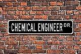 Fhdang Decor Ingeniero químico, Regalo de ingeniería química, Letrero de ingeniería química, decoración de ingeniería química, señal de Calle Personalizada, Signo de Metal, 10,16 x 45,7 cm