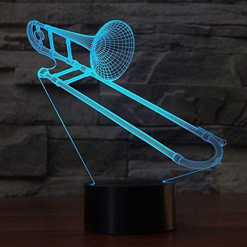 JYHW 3D Posaune Form Nachtlicht Farbwechsel Usb Tischlampe Visuelle Led Schlaf Beleuchtung Musikinstrumente Leuchte