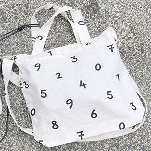 XUEQQ Stofftasche Digitale Graffiti-Canvas-Tasche Weiblicher Beutel Student mit großer Kapazität, weiße Schulter, diagonale Stofftasche -