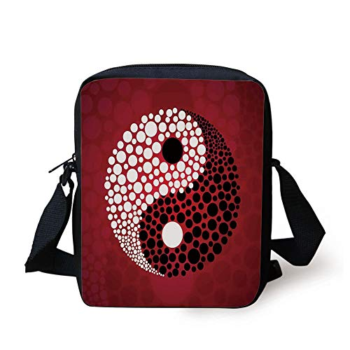 Ying Yang,Abstract Graphic Design Yin Yang Circle Black and White Dots Pattern Cosmos and Energy,Red Print Kids Crossbody Messenger Bag Purse