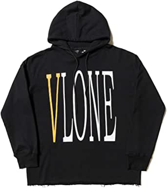 Hot Hip-Hop Hoodie Yellow Big V Pullover Hooded Behind Fashion Loose Coat Men Women Couples Black