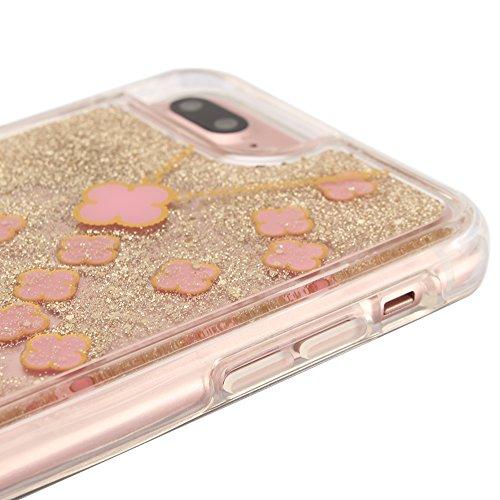 """Handyhülle für iPhone 7Plus, Transparent Kristall CLTPY Ultra Hybrid 2 in 1 Weichsilikon & Hartplastik Schale Etui für iPhone 7Plus, Glitzer Frei Fließenden Flüssigkeit Treibsand Fall für 5.5"""" Apple i Rosa + Gold"""