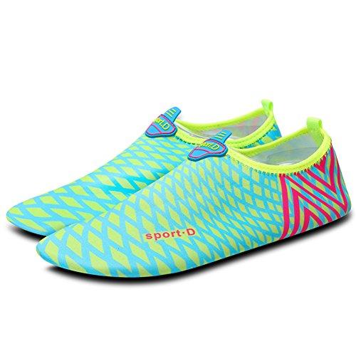 Unisex Strandschuhe Aquaschuhe Breathable Schlüpfen Schnell Trocknend Schwimmschuhe Surfschuhe für Damen Herren Kinder Baby Blau 2
