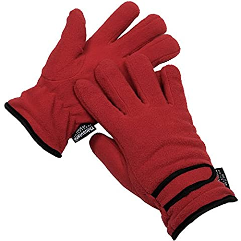 Ladies Thinsulate Insulation Winter Fleece Outdoor Gloves One Size - Red