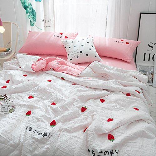 RFVBNM Steppdecke weißes Karikaturtuch gesticktes Erdbeermuster wusch einfache Artklimaanlagensteppdecke,Erdbeere 180 * 200cm