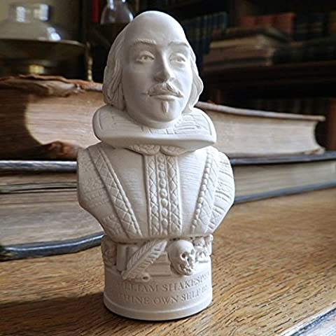 Handmade Famous Faces Busts Statues Figurines Made in England from Plaster. (William Shakespeare)