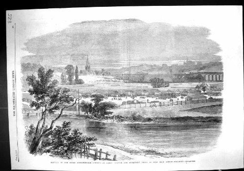1861 Königlicher Landwirtschaftlicher Gesellschafts-Leeds-Vieh-Werkzeug-Hallen Armley-Hügel