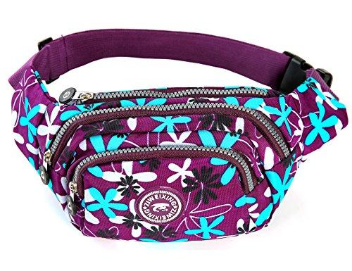 iSuperb® Praktisch Damen Bauchtasche Gürteltasche Hüfttasche mit 4 Reißverschlusstasche für Alltag Reise Festivals (Lila mit Blumen) Lila mit Blumen