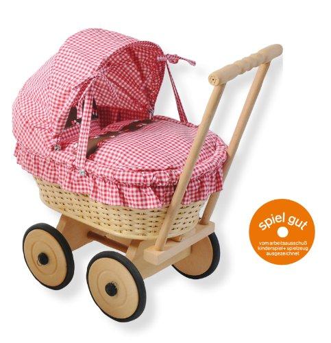 werkstatt-design Puppenwagen Glückspilz aus Korbgeflecht mit Faltdach - Mädchen 18 Für Puppen