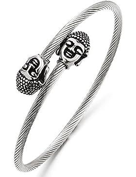 Buddha Dünne Armband Verdrehten Stahlkabel Damen Herren Armreif aus Edelstahl, Verstellbare, Gebet Buddhistisches