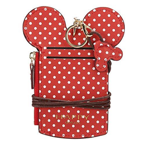 JOSEKO Kinder Brustbeutel, Mädchen und Jungen Niedlich Tier Gestalten Hals Tasche Welle Punkt Kartehalter Brieftasche Damen Münze Geldbörse Rot