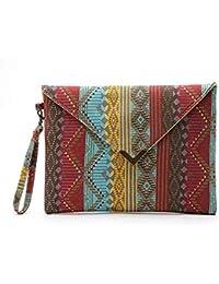 a629a22dc03f2 ¡Ofertas! Scpink Bolso tipo billetera de lona multicolor de gran tamaño para  mujer con