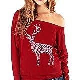 Manadlian [New Arrival Design] Mode Damen Weihnachten Lange Ärmel Brief Sweatshirt Gedruckt Zur Seite Fahren Tops Schrägstrich Rot Bluse (Rot, L)