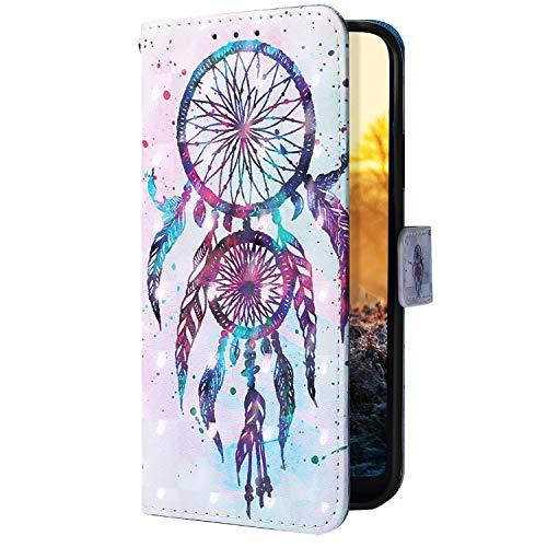 Uposao Kompatibel mit Samsung Galaxy A2 Core Handyhülle Glitzer Bling 3D Bunt Leder Hülle Flip Schutzhülle Handytasche Brieftasche Wallet Bookstyle Case Magnet Ständer Kartenfach,Traumfänger