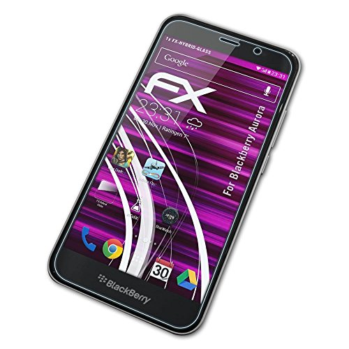 atFolix Glasfolie kompatibel mit BlackBerry Aurora Panzerfolie, 9H Hybrid-Glass FX Schutzpanzer Folie