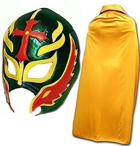 �n Fancy Kleid Mexikanischen Wrestlers Erwachsene Mexican Wrestling Maske W/Gold Cape ()
