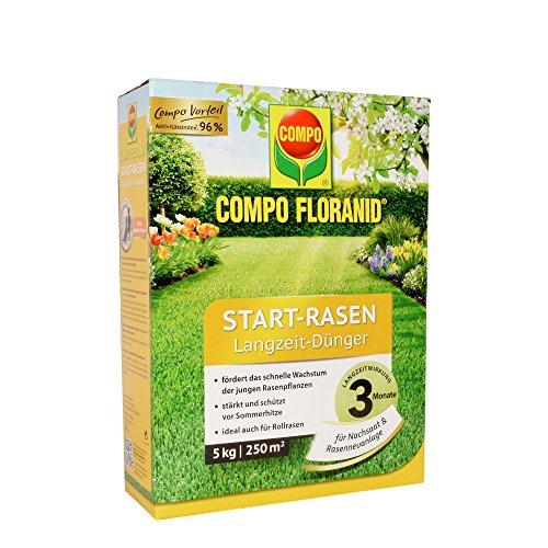 COMPO FLORANID Start-Rasen Langzeit-Dünger, 3 Monate Langzeitwirkung, Feingranulat, 5 kg, 250 mu00b2