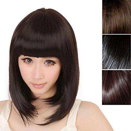 Parrucche donna capelli veri corti parrucca delle signore modo delle nuove donne breve rettilineo completa frangia bob capelli di cosplay, nero 30cm