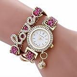 Minshao Fashion Womens 2 Layers Diamonds Love Bling Sequins Beads Leather Band Ball Pendant Rhinestone Chian Quartz Bracelet Wristwatch for Womens Gift (Hot Pink)