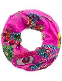style3 Leichter Damen Loop-Schal mit grafischem Ethno-Blumen-Muster in verschiedenen Farben
