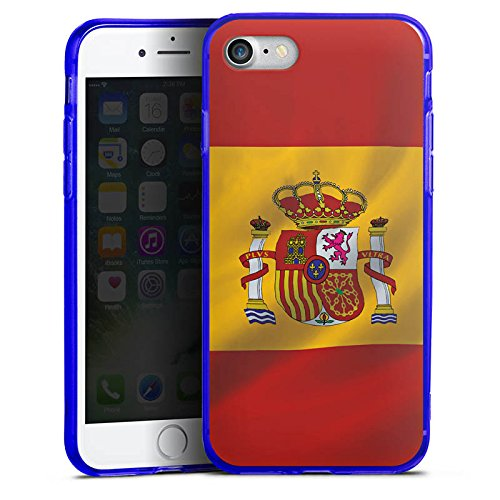 Apple iPhone 7 Silikon Hülle Case Schutzhülle Spanien Flagge Spain Silikon Colour Case blau