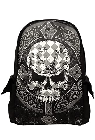 Banned Checked Skull Gothic Backpack