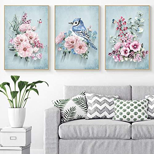 tzxdbh Nordic Rosa peonia Fiore Uccello Parete Arte Tela 3 Pezzi Dipinti Quadri Stampe Poster per Soggiorno Decorazione Domest