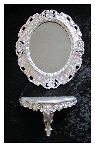 SET Silber Wandspiegel + Konsole M OVAL Wandkonsole Barock Antik 44x38 Flur Eingangsmöbel Möbel Konsole Ablage Spiegel - Konsole Wandspiegel