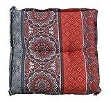 Hockerauflage für Gartenhocker | B 50 cm x L 50 cm | Rot | Baumwolle | Polyester