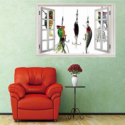 3D Fenster Wandtattoo Wandaufkleber Gebrochenes Loch (50X70 Cm) angelhaken Schlafzimmer Zimmer Landschaft kinderzimmer Wanddekoration Dekoration -