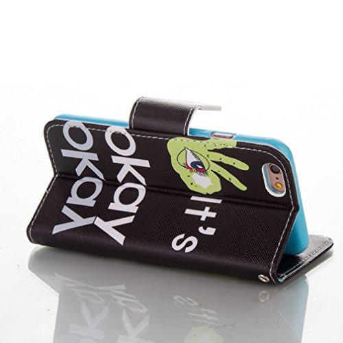 OuDu Klapp Schutzhülle für iPhone 6 PLUS/6S PLUS PU Leder Hülle Mappen Kasten Brieftasche Etui Folio Holster Flip Wallet Case Cover Bookstyle Handyhülle Weiche Flexible Schale Glatte Schlanke Tasche U It's Okay