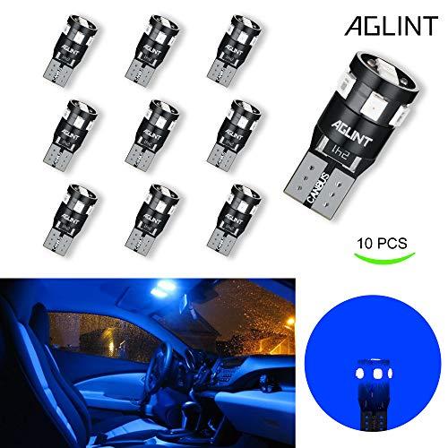 AGLINT 10 X T10 W5W LED 194 2825 Tipo di Errore Canbus Error Super Luminoso 9 SMD 2835 LED Luce targa auto per interni Lampada da lettura targa lampada 12V (Blu)