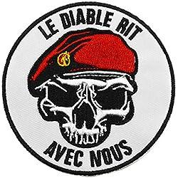 topt mili ecusson Para Parachutiste Legion Beret Vert Rouge Legionnaire armée France Francais 8cm Airsoft thermocollant Diable