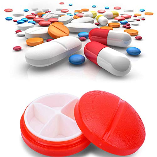Hukz Staubdicht Runde Vier-Frame Kunststoff Pillendose Mini Pillendose Schmuck Aufbewahrungsbox,4-tägige Runde Medizin Pille Vitamin Box Aufbewahrungsbox Dispenser Organizer Holder (Rot)