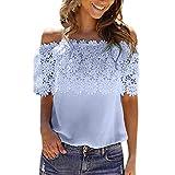 VEMOW Sommer Elegante Damen Mädchen Frauen Durchschauen Spitze Mesh Sheer Long Sleeve Casual Dating Party Täglich Crop Top T-Shirt Bluse T-Shirt Pullover(Blau, EU-38/CN-S)
