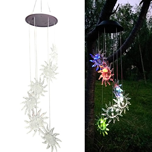 LEDMOMO LED Solar Windspiel Sonnenblume Farbwechsel Mobile Windspiel Licht Solar Hängelampe für Home Party Nacht Garten Festival Decor Geschenk
