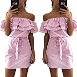 ALAIX Fashion Women Off Shoulder Ruffles Striped Skirt A-Line Casual Tassel Dress With Belt Pink-M