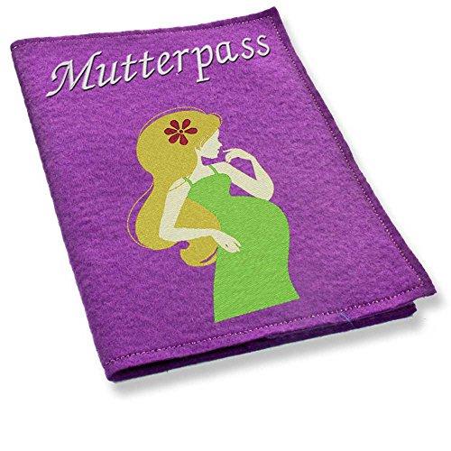 lila mutterpass hülle mit schwangerer frau