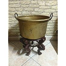 Puerta Leña envejecido caldare – Caldero olla cobre diámetro 45 ristrutturato Vintage decorativo decorado a mano