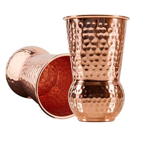 Sir Finley Monkey Moscow Mule Becher Set (2 Stück) - 450 ml handgefertigte und gehämmerte Kupferbecher aus 100% Kupfer - Design Kelch -