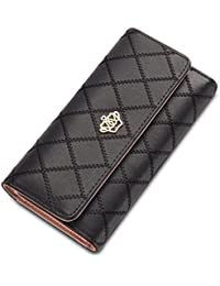 Hannea Baellerry Long Trifold Plaid Crown Purse Embroidered Hand Bag Credit Card Holder
