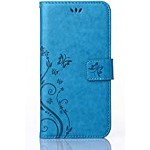 C-Super Mall-UK Samsung Galaxy Core Prime (SM-G360F) Case, PU embossed butterfly & flower Leather Wallet Stand Flip Case for Samsung Galaxy Core Prime (SM-G360F)