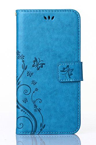 C-Super Mall-UK Samsung Galaxy Core Prime (SM-G360F) custodia,sbalzato farfalla & fiore modello PU Pelle Portafoglio Stand Flip cover per Samsung Galaxy Core Prime (SM-G360F)