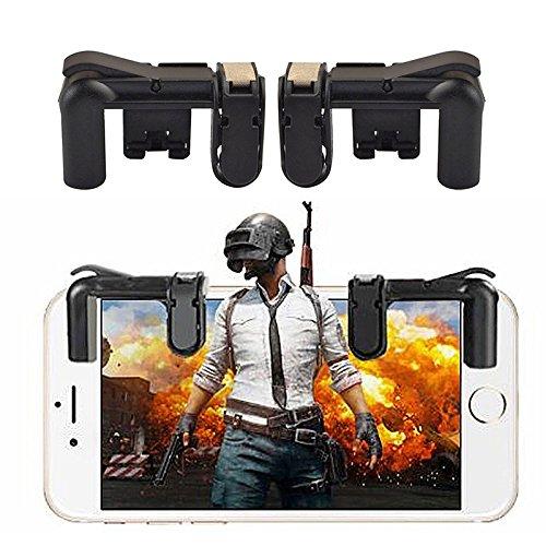 Mando de Juego Móvil (versión más pequeña), Teepao Sensitive Gaming Induction Shoot and Aim Botones para PUBG/Cuchillos Out/Reglas de Supervivencia/Fortnite/Survivor/Royale/Critical Ops, juego de disparo Herramienta Auxiliar para Android IOS Tablet (1 par) (negro)