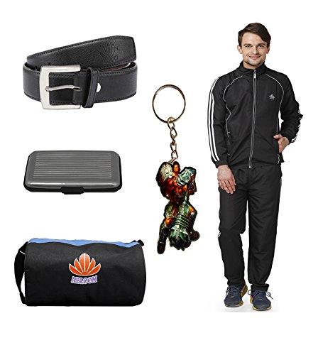 Abloom Black white track suit & gym Bag Belt Card holder with key chain